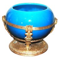 French Paul Milet Sevres Porcelain Gilt Brass Bowl