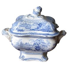 Staffordshire Blue Willow Covered Tureen