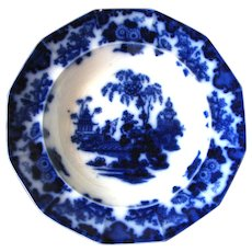 "Antique ""Scinde"" Flow Blue Bowl – 10 ½"""