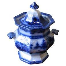 "Large Antique Flow Blue Covered Sugar – ""Tonquin"""