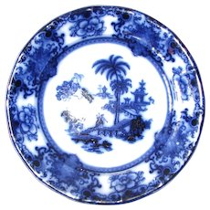"Pair 9 ½"" Antique Flow Blue Plates – Shapoo"