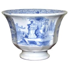 Blue & White Oriental Transferware Cup