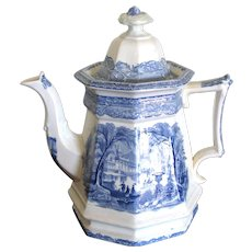 "9 ¼"" Octogonal Transferware Blue & White Oriental Tea Pot"