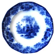 "9 ½"" Antique Flow Blue Plate – Scinde"