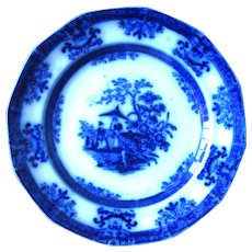 "9 1/4"" Flow Blue AMOY Plate by Davenport"