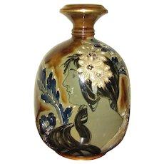 "9"" Teplitz Amphora High Glaze Portrait Vase"