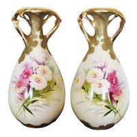 """Pair Antique 11"""" Amphora Max Emanuel Vases"""