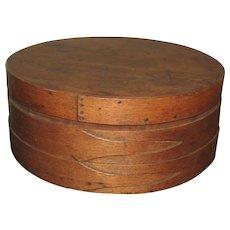 """Large Antique """"Button Hole"""" Pantry Box 16"""" Diameter"""