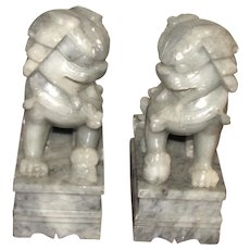 Pair of Vintage Chinese Stone Carved Foo Dogs