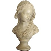 19th C. Girl With Bonnett Sculpture