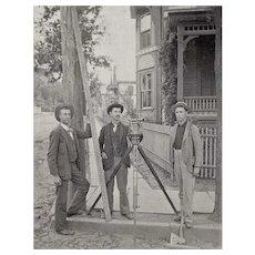 Antique Framed Cabinet Card of Land Surveyors -  CA 1920 – City Survey Crew