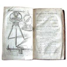 """1750 Antique Book """"The Practical Surveyor"""""""
