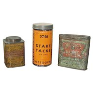 Three (3) Vintage Surveyors Tack Containers