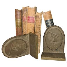 Vintage Buff & Buff Brass Book Ends