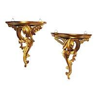 Vintage Pair of Gilt Italianate Shelves