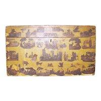 Mustard 19th C. Decoupage Box