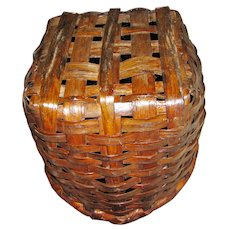 Antique New England Split Oak Basket with Handle