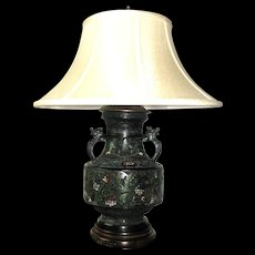 Japanese Enamel Champlevé Lamp with Wolf Heads