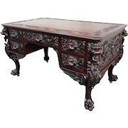 RJ Horner Carved Mahogany Griffin Partners Desk