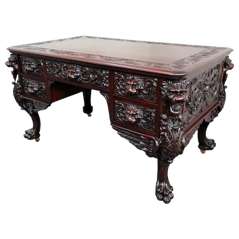 RJ Horner Carved Mahogany Griffin Partners Desk