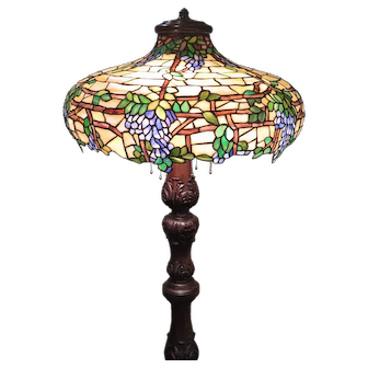 Bent Glass Novelty Co. Wisteria Leaded Glass Floor Lamp