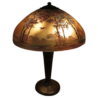 Signed Handel Bird in Flight Obverse-Painted Table Lamp