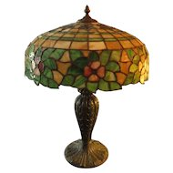Leaded Glass Floral Table Lamp, circa 1915