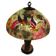 Rare Teal Handel Reverse Paint Exotic Bird Table Lamp Antique