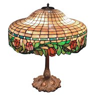 Suess Geometric & Floral Leaded Glass Lamp