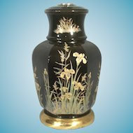 Mid Century Oriental Floral Decorated Black Glazed Ceramic Lamp