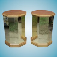 Pair Mid Century Modern Octagonal Brass And Wood Pedestal End Tables