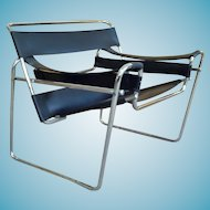 Mid Century Modern Chrome+Leather Wassily Chair