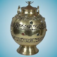 Large Bulbous Middle Eastern Style Brass Decorated Lamp