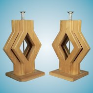 A Graphic Pair of Mid Century Modern Diamond Shaped Wood Lamps