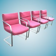 Set Of 4 Mid Century Modern Milo Baughman Heavy Flat Bar Chrome Armchairs
