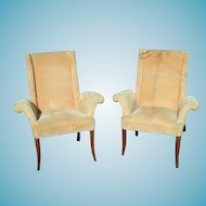 A Wonderful Pair Of Art Deco Regency Wing Chairs With Carved Legs