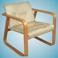 Mid Century Modern Alvar AAlto Bentwood Leather Sled Armchair