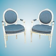 Vintage Pair Of Mid Century French Louis XVI Carved And Painted Oval Back Open Armchairs
