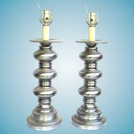 Pair Of Mid Century Modern Baluster Turned Brushed Steel Lamps