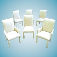 Set Of 6 Mid Century Modern Milo Baughman White Leather Parsons Chairs