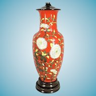 Large Size Mid Century Hand Painted Oriental Asian Red Glazed Ceramic Lamp