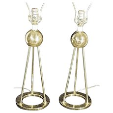 Pair Of Mid Century Modern Atomic Space Age 3 Legged Brass Lamps