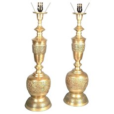 Pair Of Mid Century Modern James Mont Asian Style Figural Embossed Brass Lamps