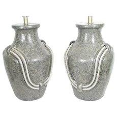 Pair Of Mid Century Modern Ceramic Olive Jar Lamps With Rope Tassel Handles