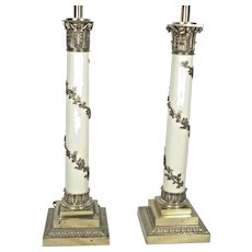 Tall Pair Of Mid Century Regency Corinthian Column Lamps With Climbing Vines