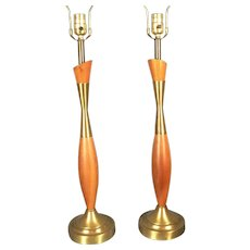A Wonderful Pair Of Slender Mid Century Modern Brass And Wood Urn Lamps