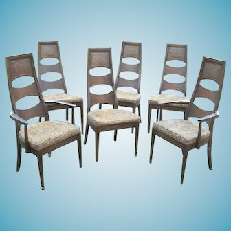 Set Of Six Adrian Pearsall Mid Century Modern Walnut Finish High Back Dining Chairs