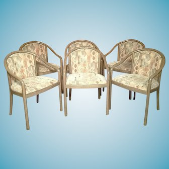 Set Of 6 Mid Century Modern Bentwood Curved Arm Ward Bennett Armchairs