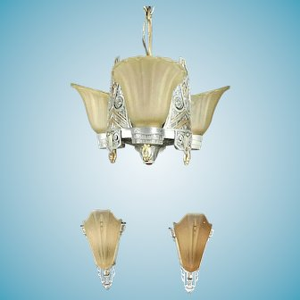 Antique Art Deco 3 Light Chandelier And Matching Pair Of Sconces