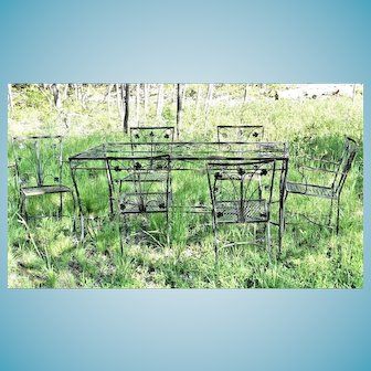 Vintage Early 20th Century Wrought Iron Garden Patio Set Table and 6 Chairs